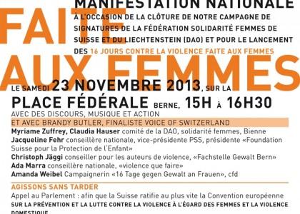 Ce samedi, toutes à Berne contre la violence conjugale !