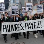 Sauvez les riches! Manif à Lausanne, je 3 avril